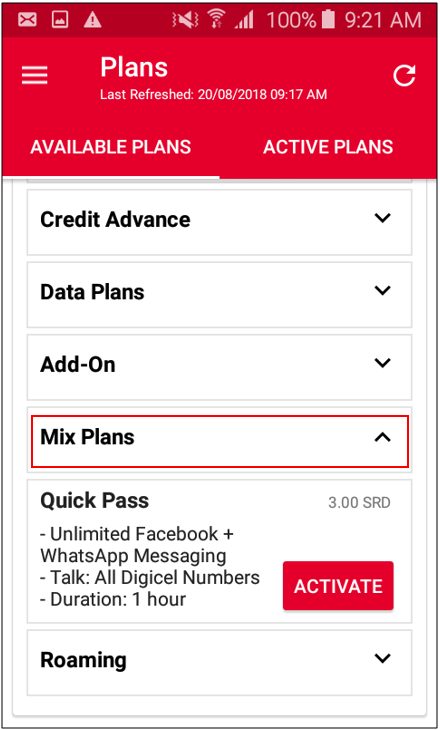 How can you activate the Quick Pass via the My Digicel App – Mobile